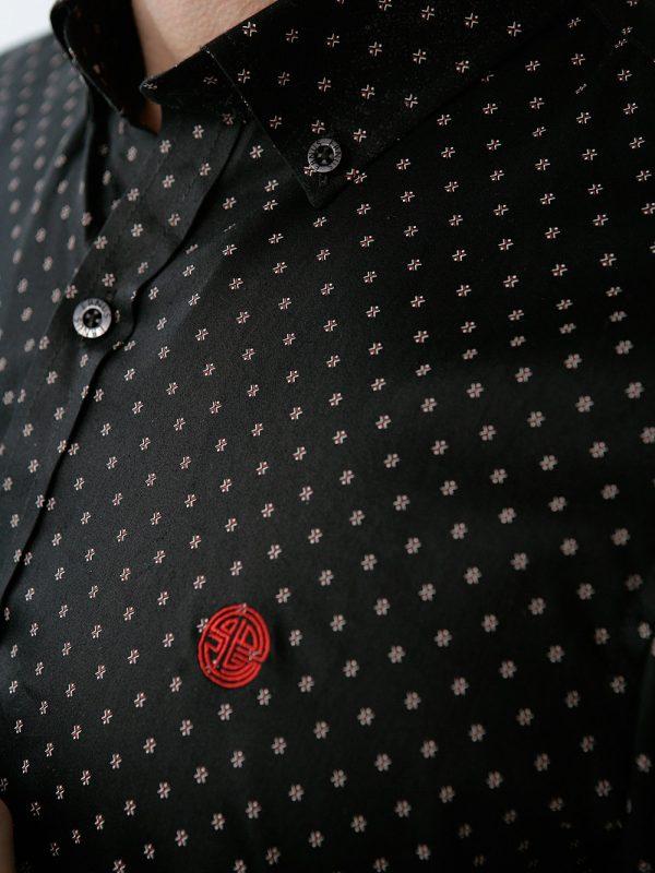 camisa para hombre negra miniprint